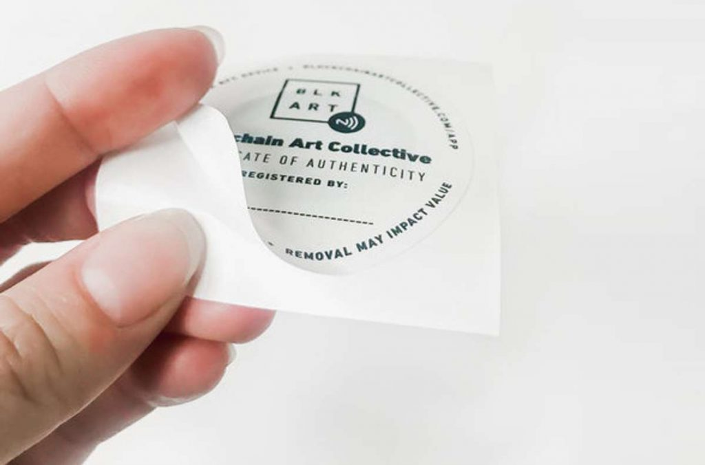 NFC tag used as a blockchain-registered certificate of authenticity - Art Collective